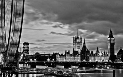 Westminster Black And White Print by Dawn OConnor