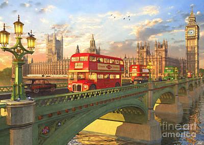 Bus Photograph - Westminster Bridge by Dominic Davison