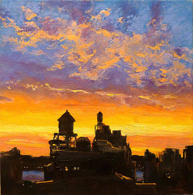 Rooftops Painting - Westside Sunset No. 1 by Peter Salwen