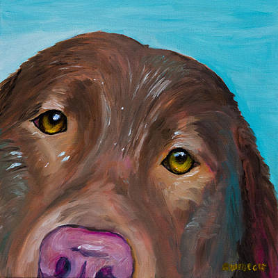 Chocolate Labrador Retriever Painting - Wet Head by Roger Wedegis