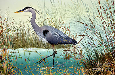 Artist James Williamson Great Blue Heron Painting - Wetland Beauty by James Williamson
