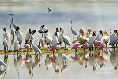 Spoonbill Digital Art - Wetland Friends 1 by Patrick M Lynch