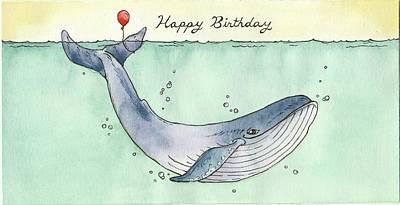 Whale Drawing - Whale Happy Birthday Card by Katrina Davis