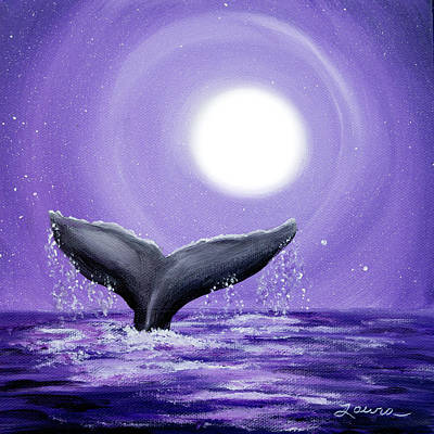 Whale Tail In Lavender Moonlight Print by Laura Iverson