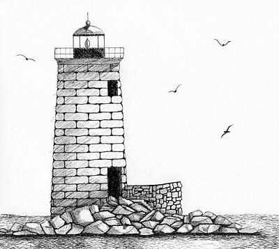 Ledge Drawing - Whaleback Ledge Lighthouse by Tim Murray