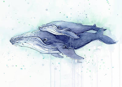 Whales Humpback Watercolor Mom And Baby Print by Olga Shvartsur