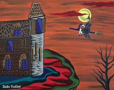 Haunted House Painting - What A Wonderful Night Out by Deidre Firestone