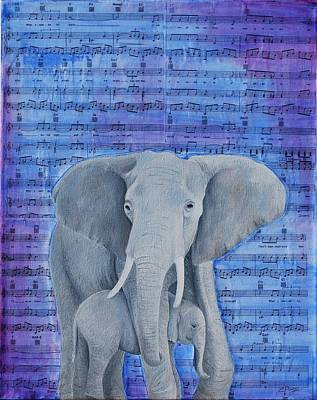 Happy Elephant Painting - What A Wonderful World by Emily Page