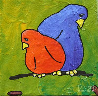 Bird And Worm Painting - What's For Dinner by LimbBirds Whimsical Birds