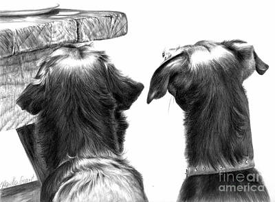 Black Labrador Drawing - What's On The Table by Sheona Hamilton-Grant