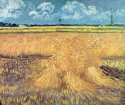Wheatfield With Sheaves Print by Vincent van Gogh