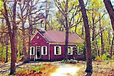 Schoolhouse Mixed Media - Wheaton Village School House by Denise Haddock