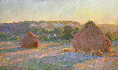 Grain Painting - Wheatstacks, End Of Summer by Claude Monet