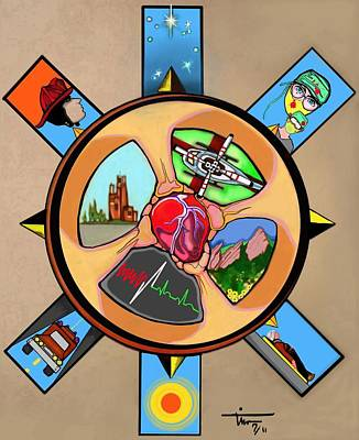 Helicopter Mixed Media - Wheel Of Life Ems Poster by Tim  Conroy