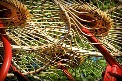 Haybale Photograph - Wheel Rake Abstract by Cricket Hackmann