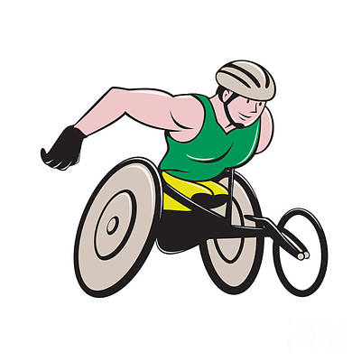 Disabled Sports Digital Art - Wheelchair Racer Racing Isolated by Aloysius Patrimonio