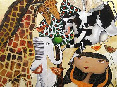 When Giraffes Were Big Print by Yelena Revis