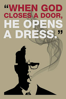 Sterling Digital Art - When God Closes A Door - Mad Men Poster Roger Sterling Quote by Beautify My Walls