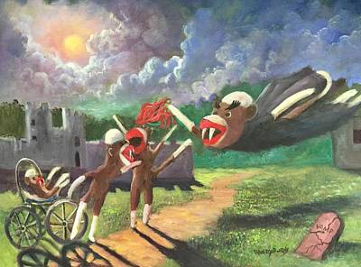 Baby Carriage Painting - When Sock Monkeys Become Vampires by Randol Burns