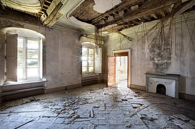 Haunted House Photograph - When The Ceiling Comes Down - Urban Exploration by Dirk Ercken