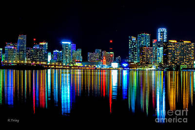 When The Miami City Lights Hit The Bay Waters Print by Rene Triay Photography