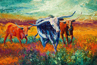 Horns Painting - When The Cows Come Home by Marion Rose