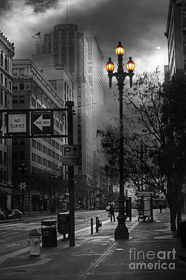 When The Lights Go Down In San Francisco 5d20609 Bw Print by Wingsdomain Art and Photography