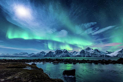Aurora Photograph - When The Moon Shines by Tor-Ivar Naess