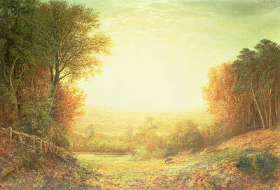 Meadow Scene Painting - When The Sun In Splendor Fades by John MacWhirter