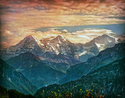 When The Sun Says Good Bye To The Mountains  Print by Hanny Heim