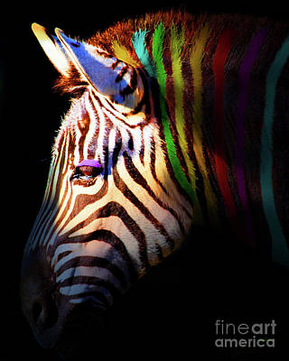 Zebra Digital Art - When Zebras Dream 7d8908 Vertical by Wingsdomain Art and Photography