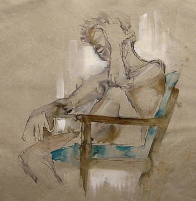 Sepia Ink Drawing - Where Did I Put It by Podi Lawrence