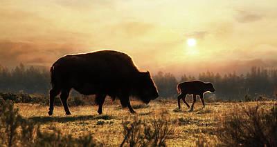 Bison Digital Art - Where The Buffalo Roam by Lori Deiter