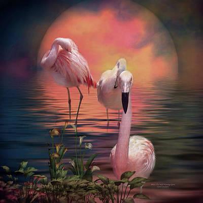 Flamingo Mixed Media - Where The Wild Flamingo Grow by Carol Cavalaris