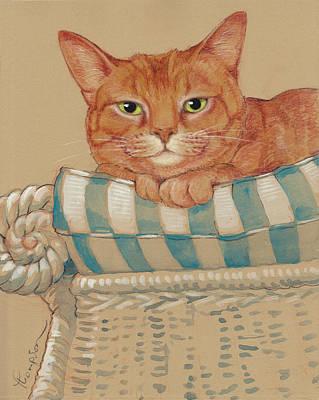Orange Tabby Painting - Where's My Daiquiri? by Tracie Thompson