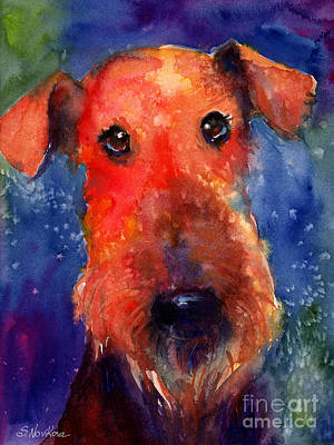 Russian Drawing - Whimsical Airedale Dog Painting by Svetlana Novikova