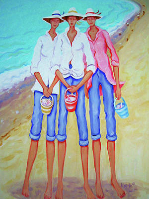 Girlfriends Painting - Whimsical Beach Women - The Treasure Hunters by Rebecca Korpita