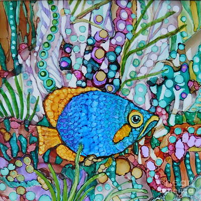 Abstract Using Brilliant Colors Painting - Whimsical Blue And Gold Fish  by Joan Clear