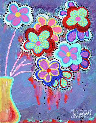 Flowers Painting - Whimsical Flowers - Art By Valentina Miletic by Valentina Miletic