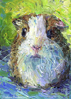 Greeting Drawing - Whimsical Guinea Pig Painting Print by Svetlana Novikova