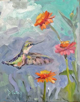 Floral Painting - Whimsical Hummingbird by Donna Tuten