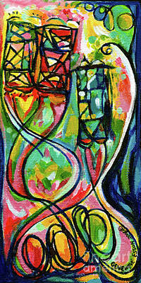 Painting - Creve Coeur Streetlight Banners Whimsical Motion 2 by Genevieve Esson