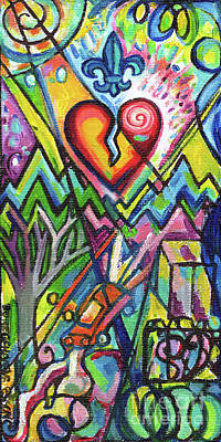 Painting - Creve Coeur Streetlight Banners Whimsical Motion 5 by Genevieve Esson