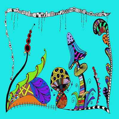 Drawing - Whimsical Mushrooms by Susan Leggett