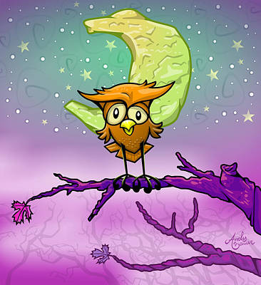 Orange Drawing - Whimsical Night Owl by Andy Bauer