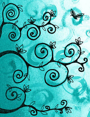 Brunch Painting - Whimsical Tree And A Hummingbird  by Irina Sztukowski