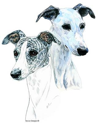 Dog Drawing - Whippet Pair by Kathleen Sepulveda