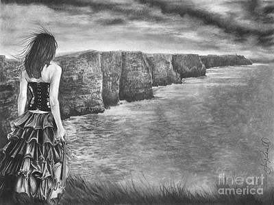 Seacoast Drawing - Whisper - The Cliffs Of Moher by Gary Rudisill