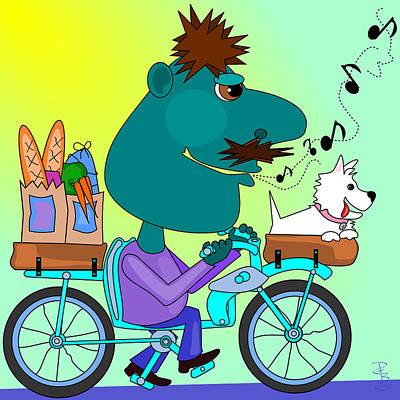 Westie Digital Art - Whistling Bicycle Rider by Debra Baldwin