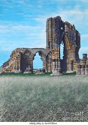 English Gouache Painting - Whitby Abbey, North Yorkshire by David Elliston